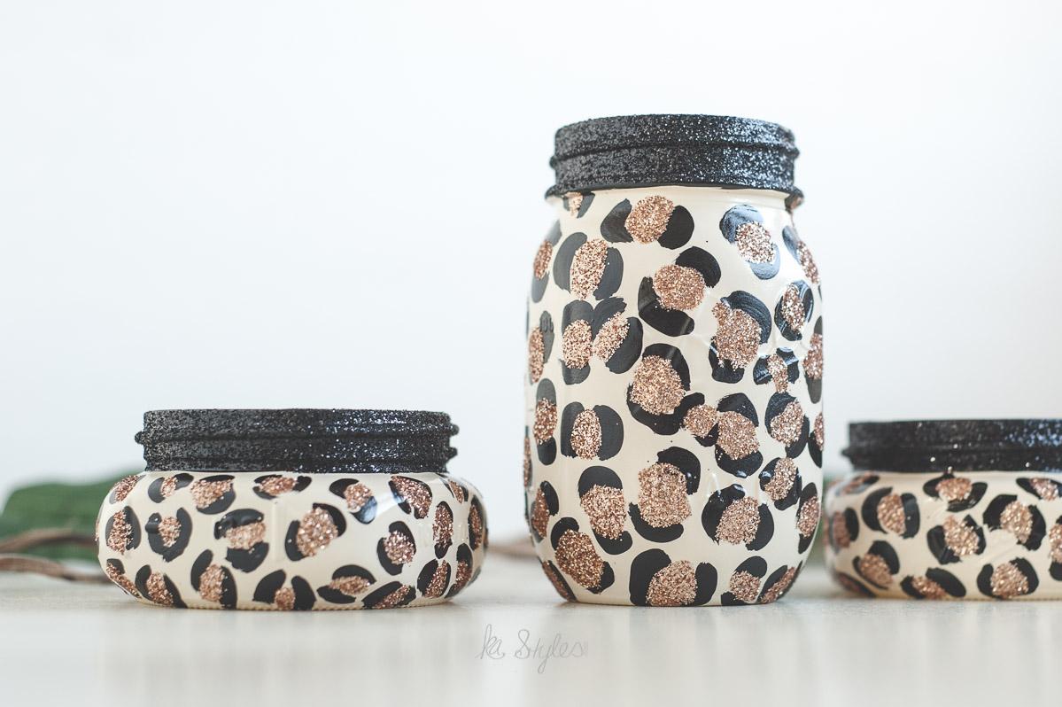 Glitter leopard print mason jars
