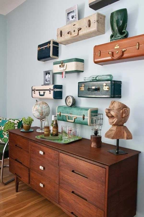 Half suitcase wall shelves
