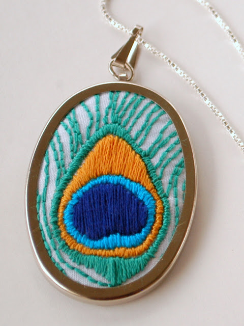 Hand embroidered feather pendant
