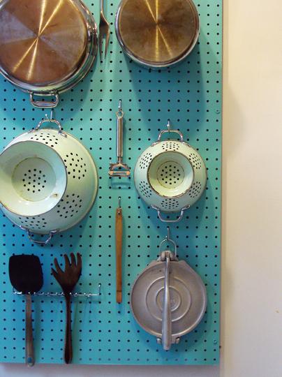 Kitchen utensil pegboard
