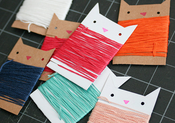 Kitty shaped thread organizers