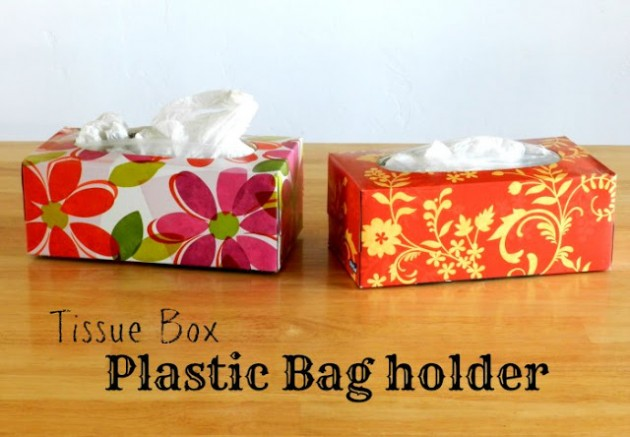 Kleenex box plastic bag storage