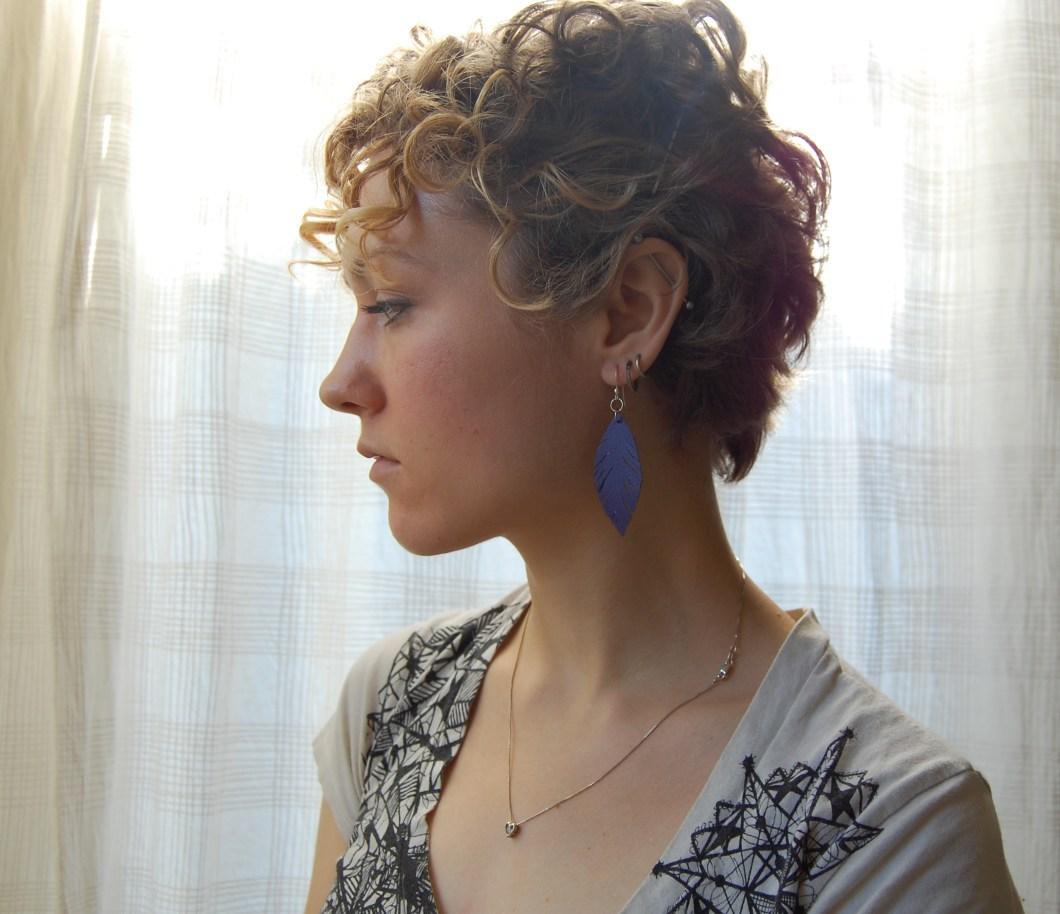 Leather scrap faux feather earrings
