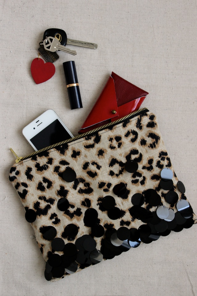Leopard and sequin zippered clutch