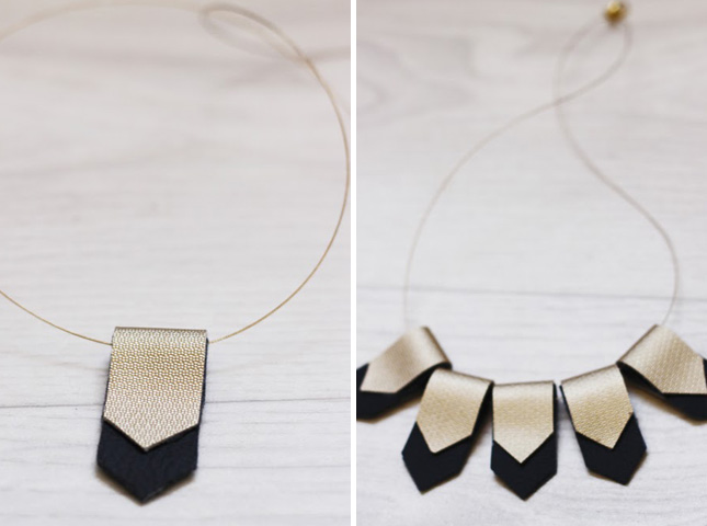 Looped leather necklace