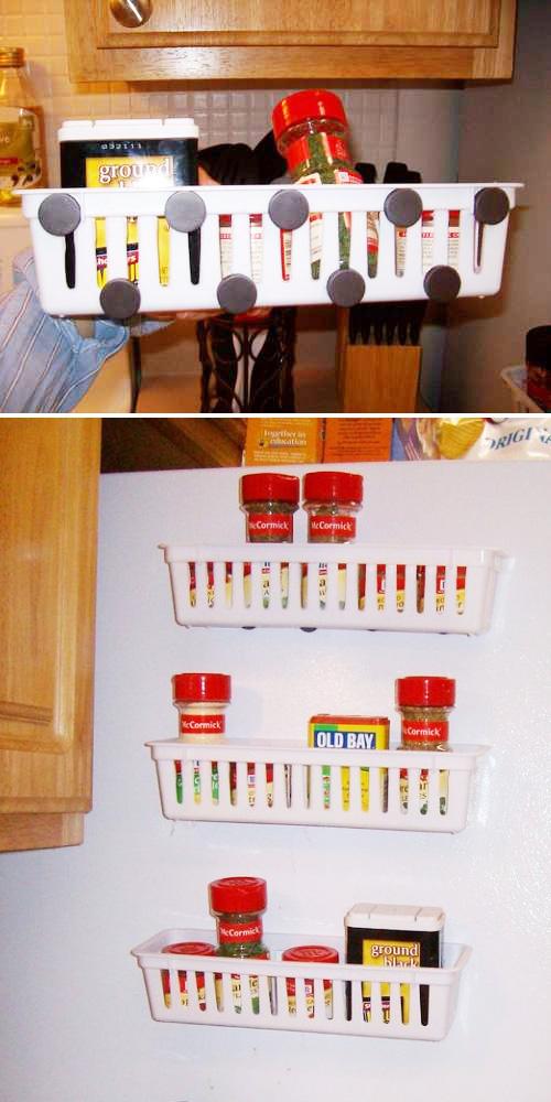 Magnetic outside fridge racks