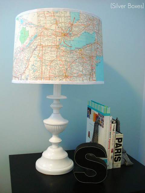Map covered lampshade diy