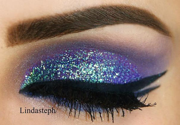 Mint glitter over purple