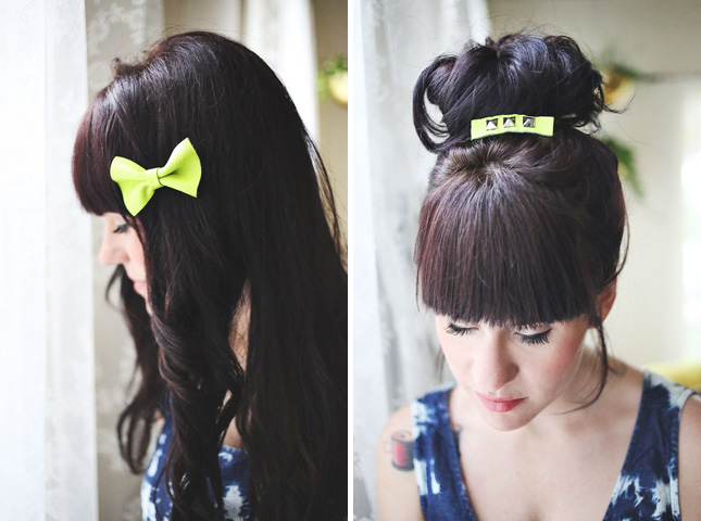 Neon leather hair clips