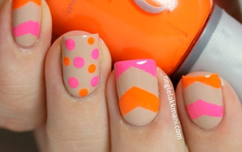 Orange and pink dots and lines