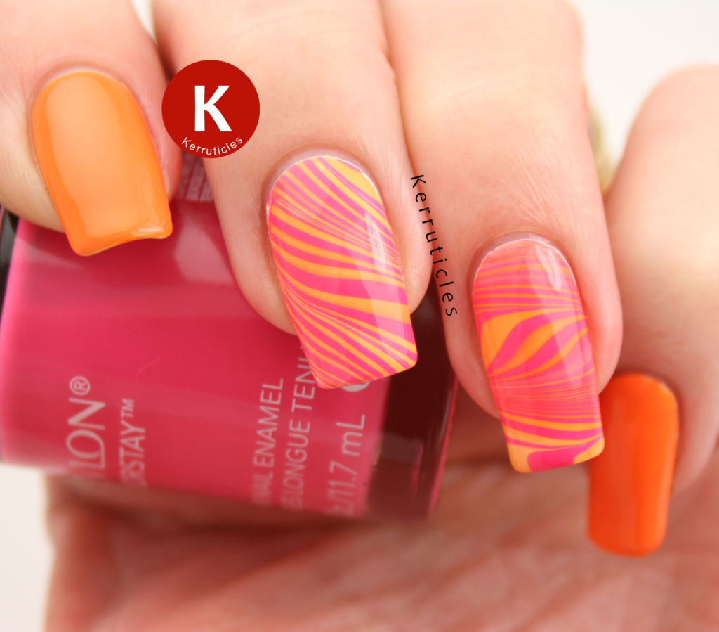 Orange and pink marble