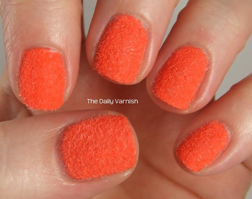 Orange velvet manicure
