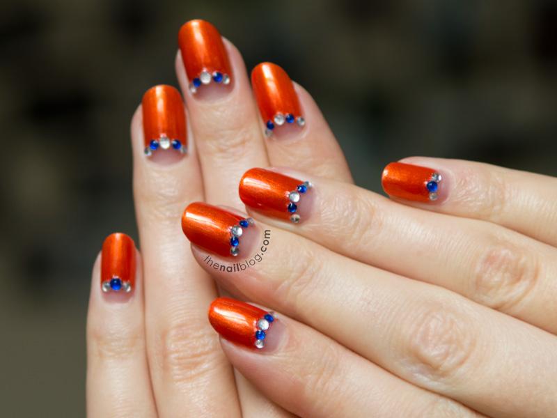 Orange with half moon rhinestones