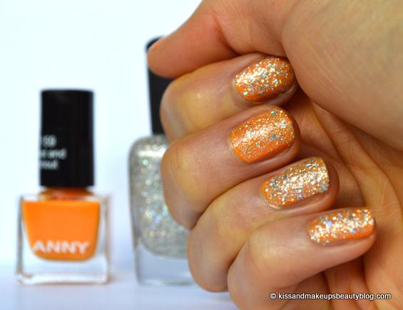 Orange with silver glitter