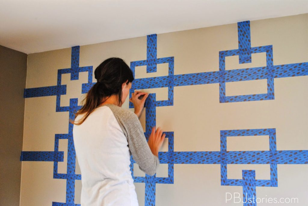 Paint tape wall stencils