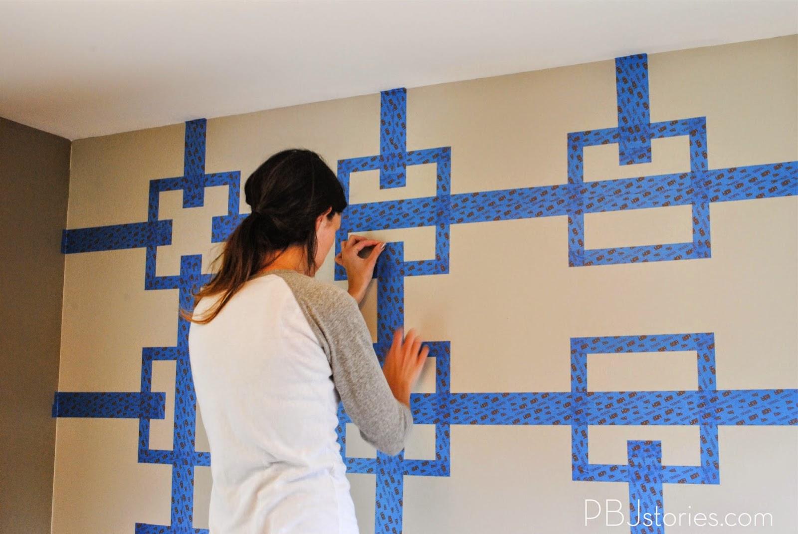 Paint tape wall stencils