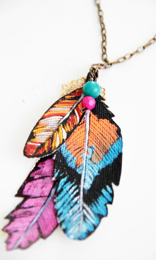 Painted faux feather necklace