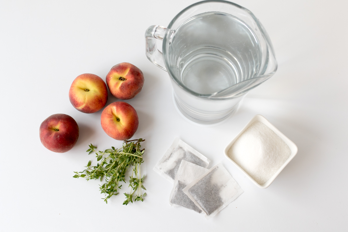 Peach and thyme iced tea ingredients