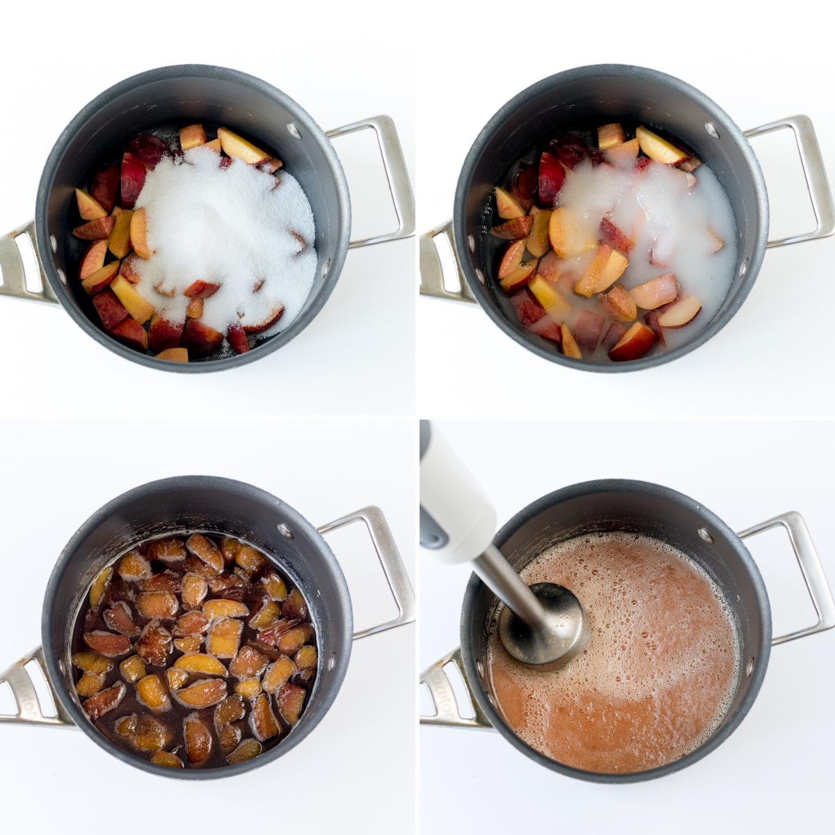 Peach and thyme iced tea step 1 collage
