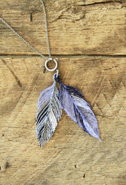 "Plastic ""doodle"" feather necklace"