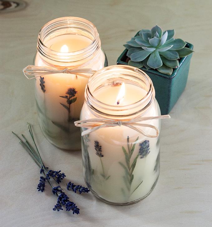 Pressed herb candles