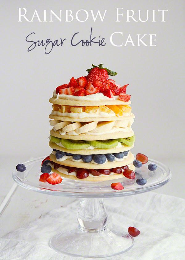 Rainbow fruit sugar cookie cake