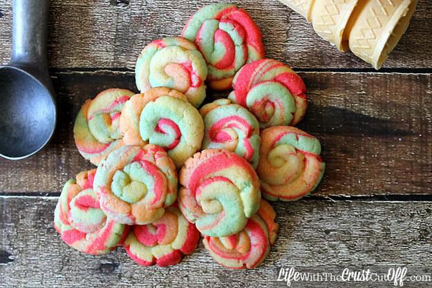 Rainbow sherbert cookies