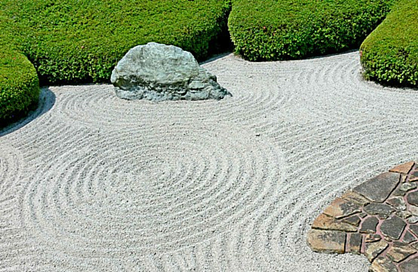 Raked rock zen gardens
