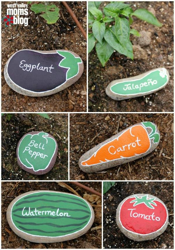 Rocks as garden markers