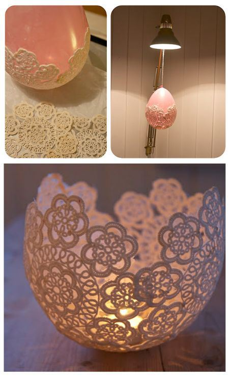 Rounded lace candle holder