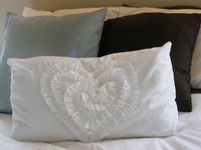 Ruffled heart throw pillow