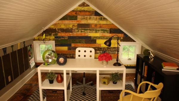Rustic attic desk space