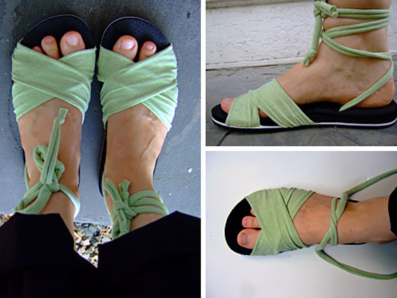 Sandals with ankle ties