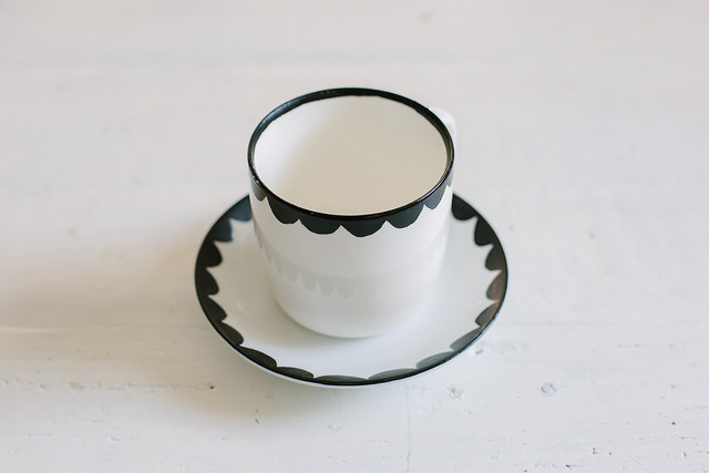 Scalloped cup and saucer