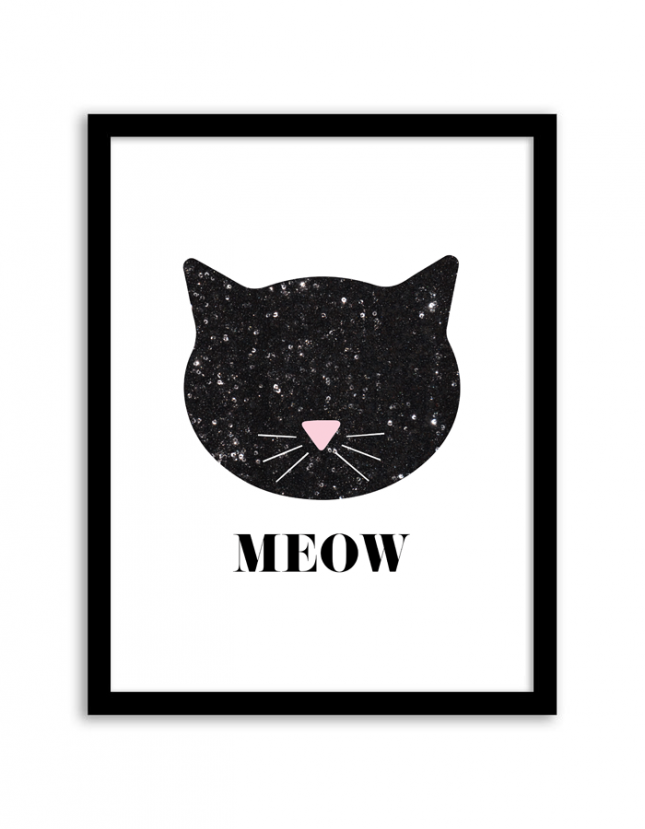Sequinned cat wall art