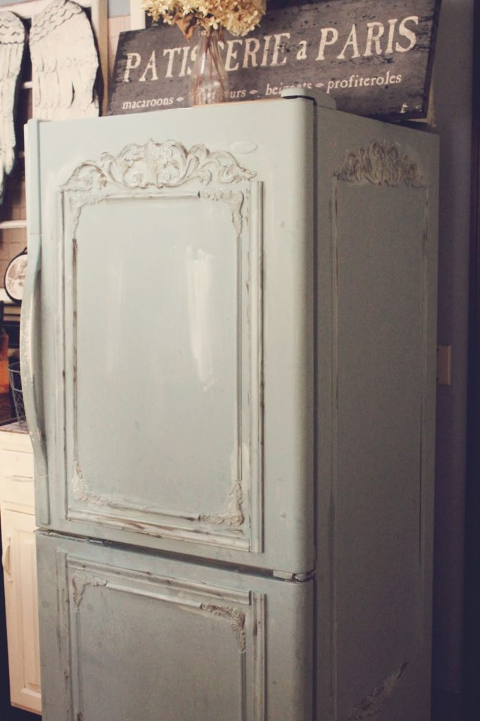 Shabby chic painted fridge
