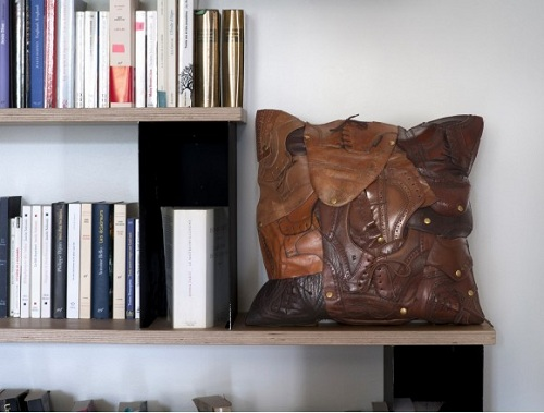 Shoe leather pillow