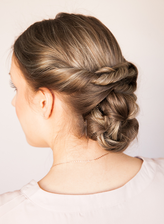 Simple diy chic low braided updo hairstyle picture 5
