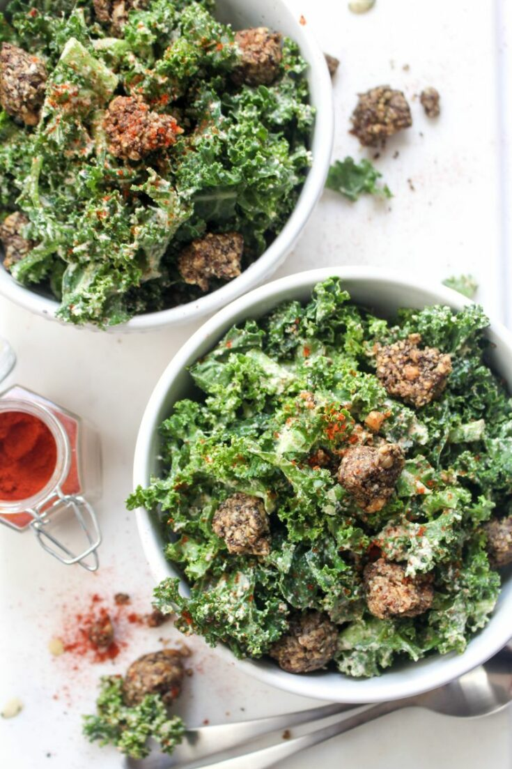 Spicy kale caesar salad easy summer recipe