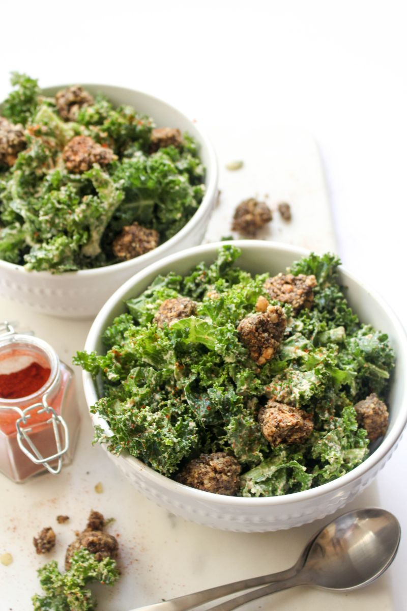 Spicy kale caesar salad for summer