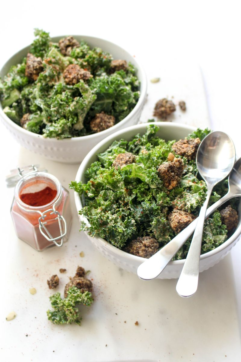 Spicy kale caesar salad recipe