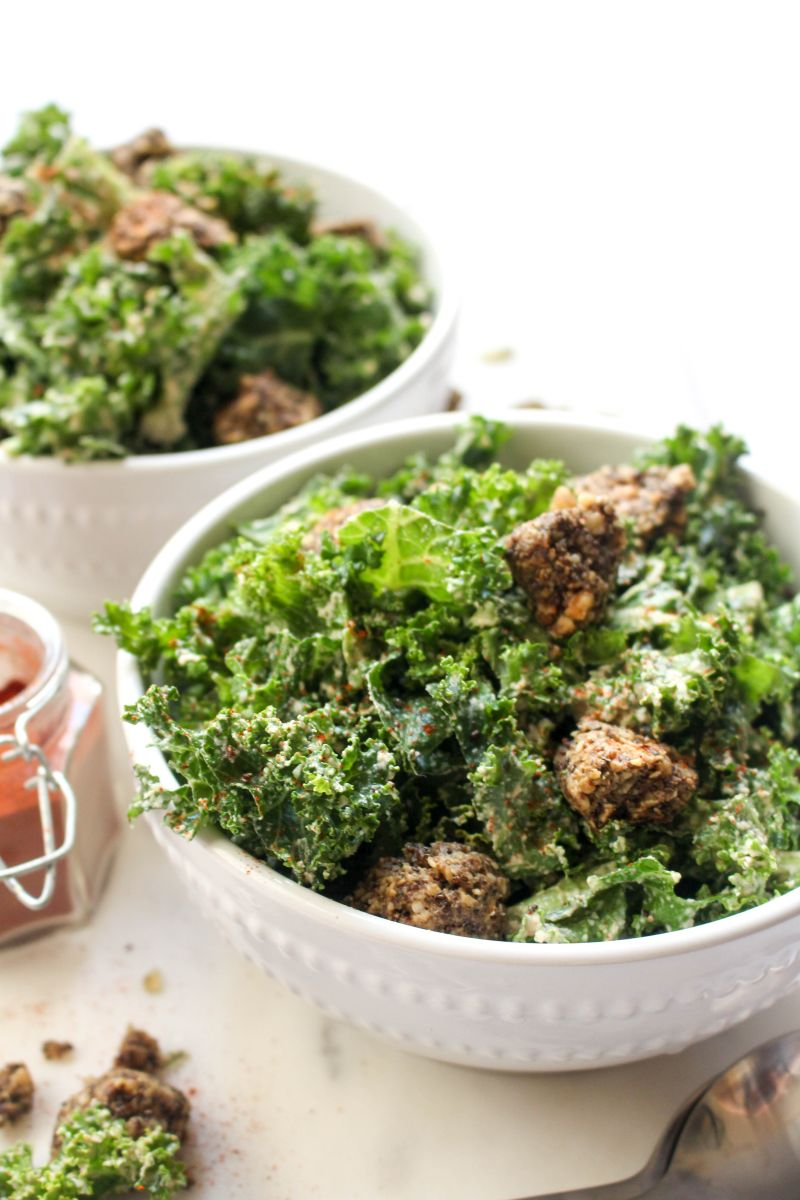 Spicy kale caesar salad serve