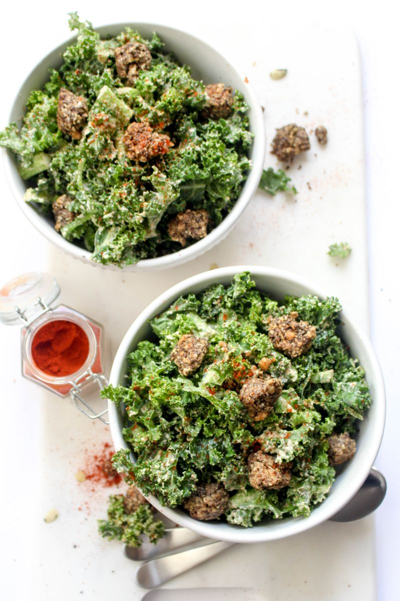Spicy Kale Caesar Salad