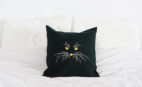 Stitched cat pillow