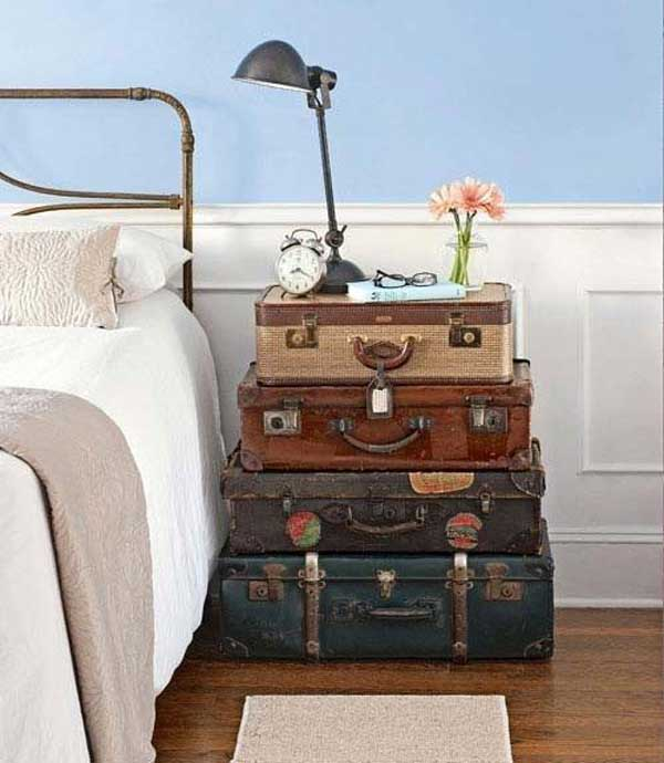 Suitcase piled nightstand