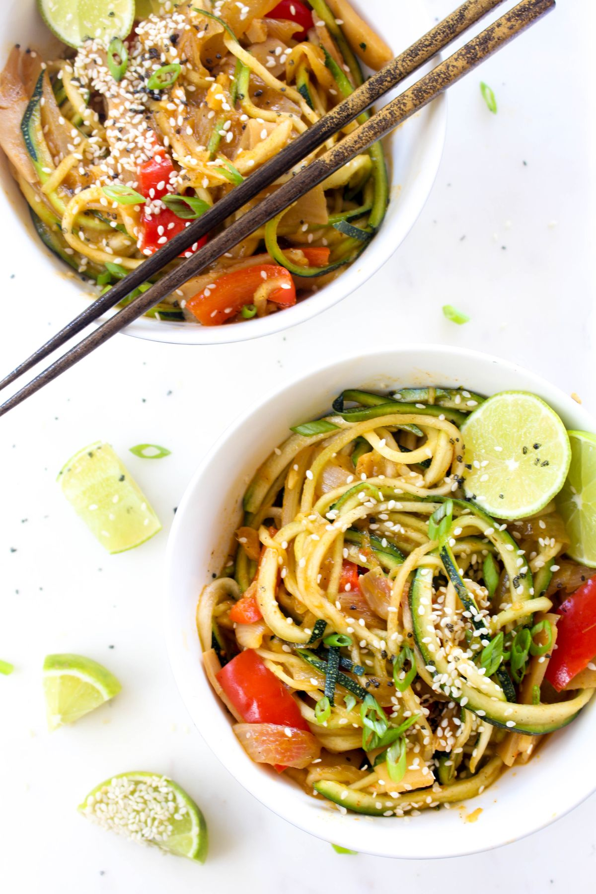 Thai red curry zoodles server