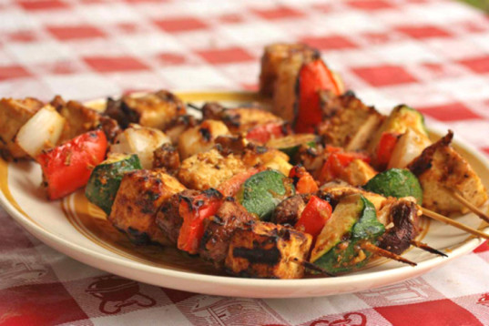Vegan camping recipes tofu vegetable kebabs