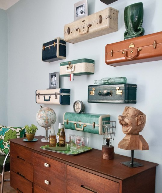 Vintage suitcase shelves diy