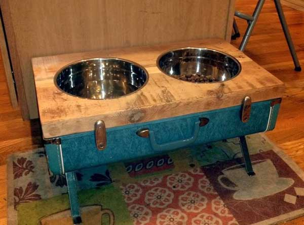 Vintage suitcase dog bowl stand
