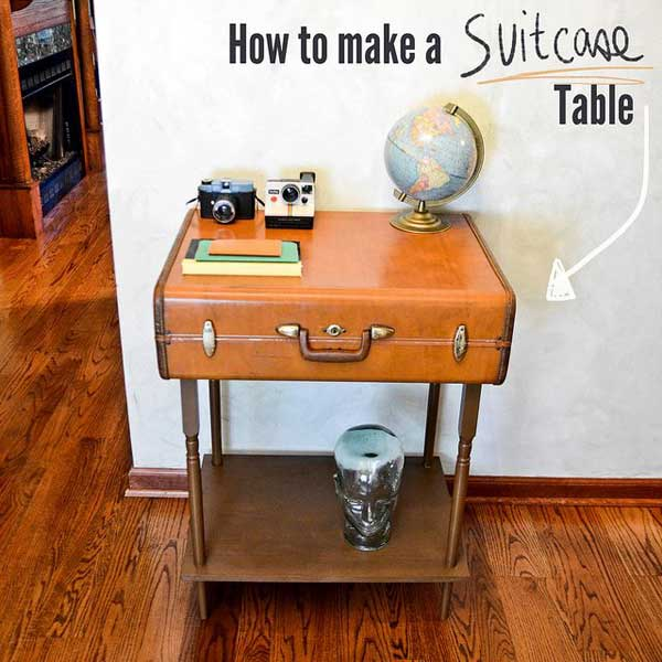 Vintage suitcase sidetable